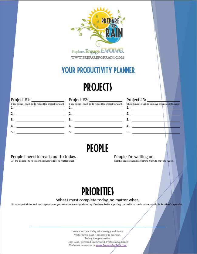 PFR Productivity Planner